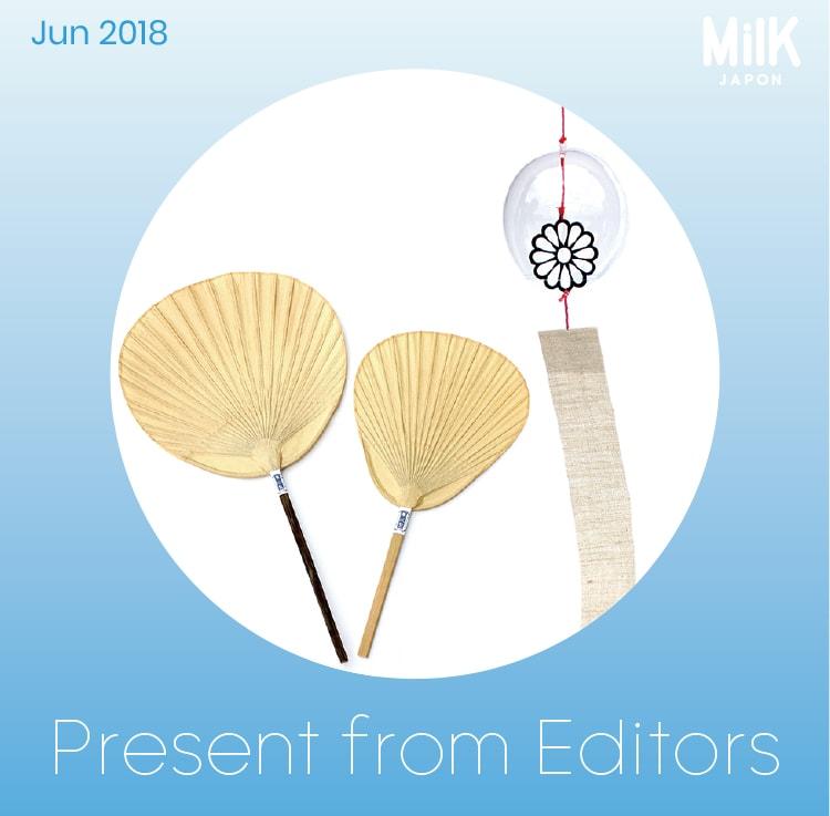 6月:〈サコウユウコ〉のガラスの風鈴 & 〈栗川商店〉の渋うちわ