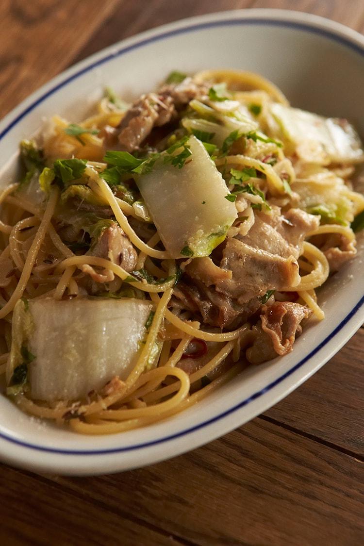 47 豚バラ肉と白菜のペペロンチーノレシピ