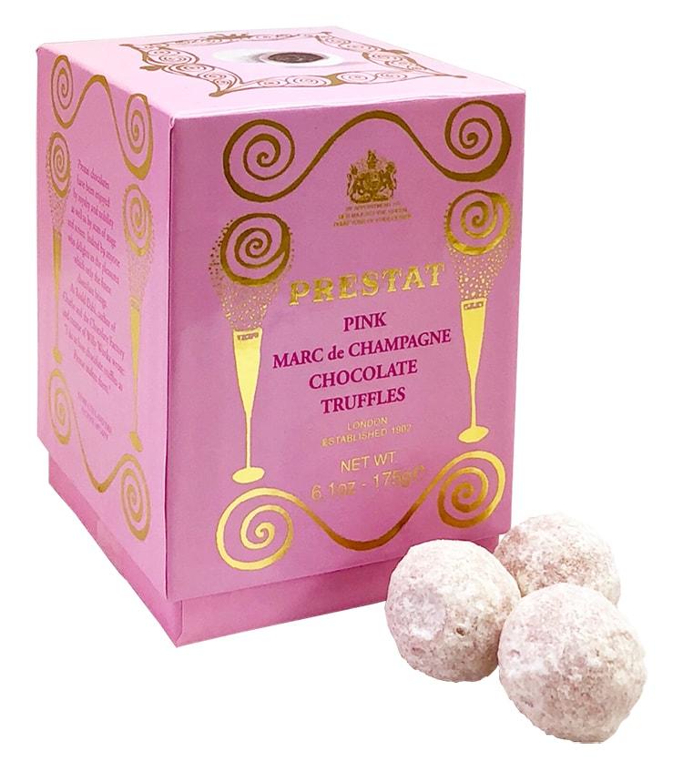 英国王室御用達のチョコレートブランド〈プレスタ〉のピンクシャンパントリュフ