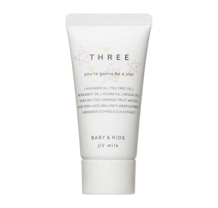 MilK JAPON「敏感肌でも安心!ママと子どものための日焼け止め&虫除けアイテム9選」〈THREE〉の「THREE ベビー&キッズ UVミルク」