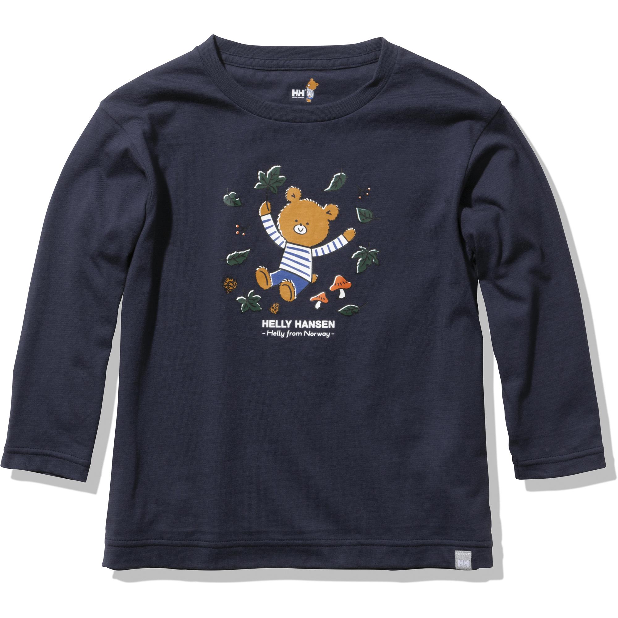 子どもたちに「自然とのつながり」「冒険心」「自尊心」「好奇心」を伝える、ヘリーハンセンオリジナル絵本に登場するヘリーベアをアイコンにした、HELLY BEARコレクションのTシャツ。葉っぱの部分は指で触ると皮膚の温度によって色が変化する仕掛け。 長袖Tシャツ 5,280円 (サイズ 100〜150)