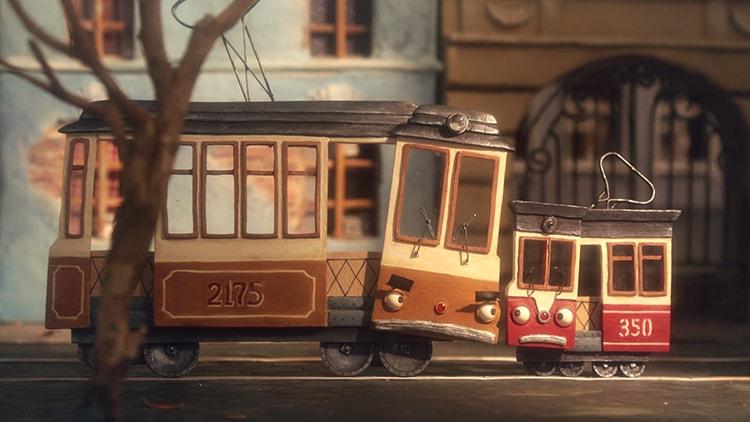 『電車の親子』(Two Trams)