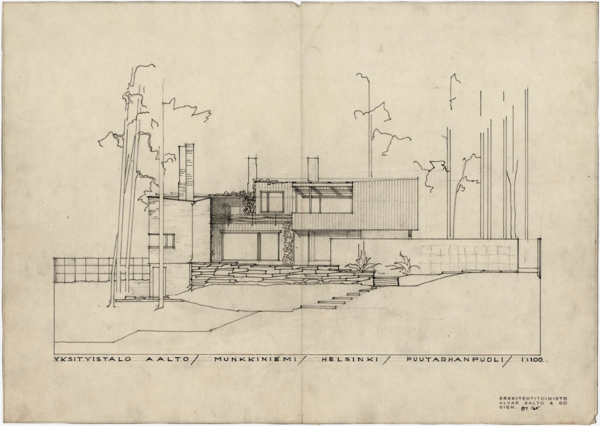 アアルトハウス庭側立面スケッチ、1935年 Alvar Aalto Foundation