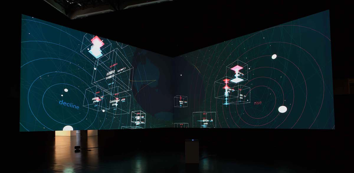 """Daito Manabe + Yusuke Tomoto + 2bit《chains》2016年 Exhibition view: """"GLOBALE: New Sensorium – Exiting from Failures of Modernization""""  Courtesy of ZKM 