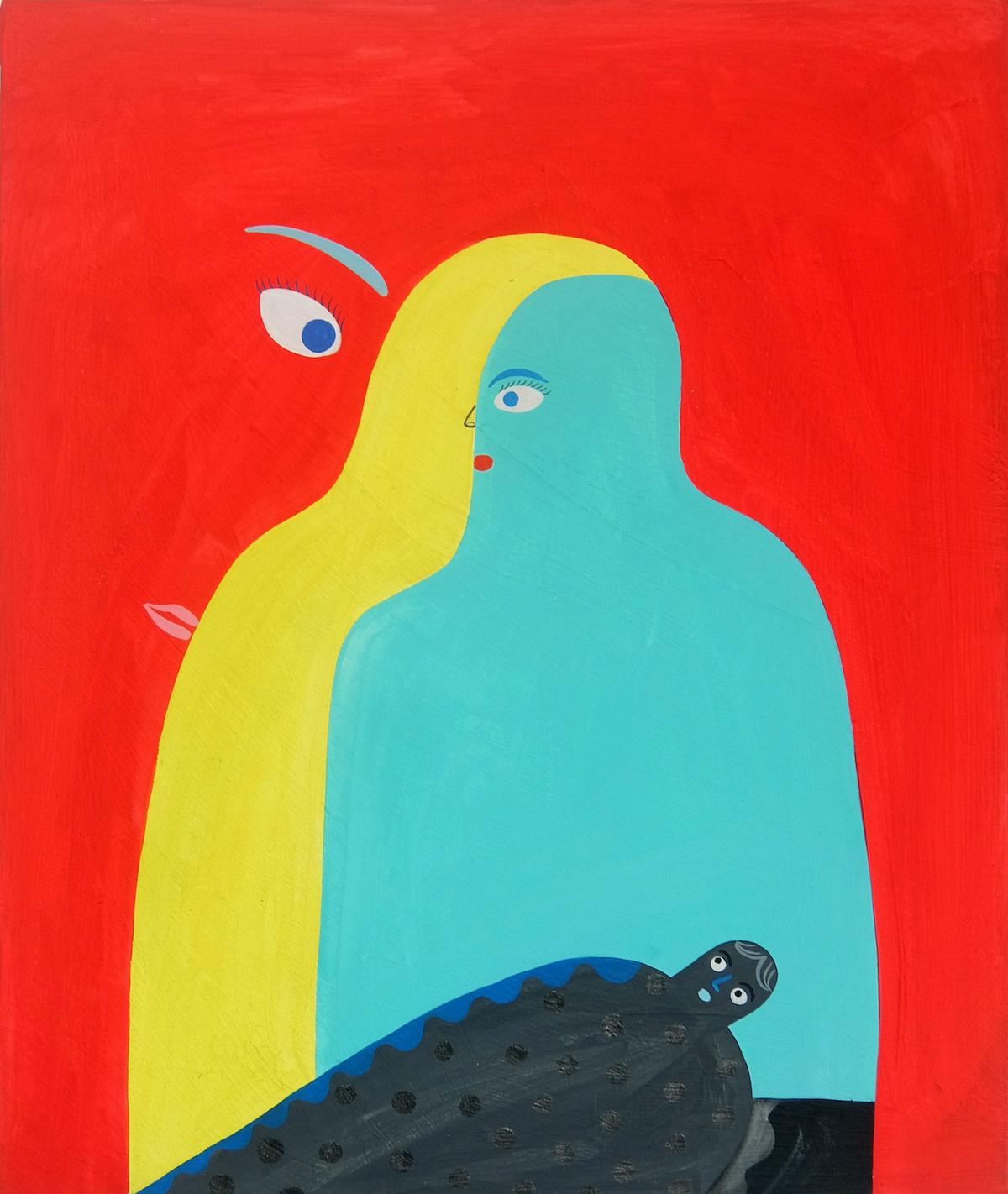 岡田杏里《ヒトの心の構造について》 アクリル/カンヴァス、60×50cm、2019年、個人蔵 ©Anri Okada