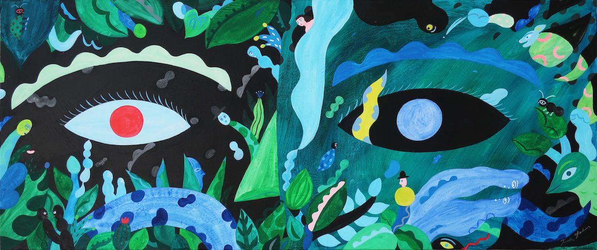 《Soñar dentro de la tierra》 2021年、アクリル/カンヴァス、45cm x 106.7cm、作家蔵 ©Anri Okada