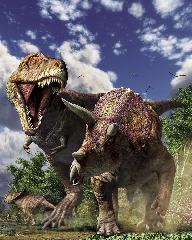 《ティラノサウルスVSトリケラトプス》復元画:月本佳代美