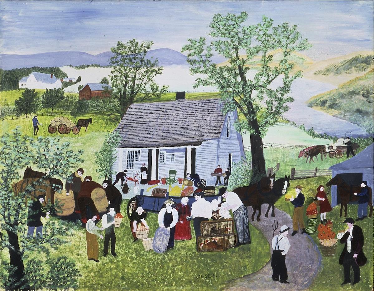 """アンナ・メアリー・ロバートソン・""""グランマ""""・モーゼス 《農場の引越し》 1951年 個人蔵 (ギャラリー・セント・エティエンヌ、ニューヨーク寄託) ©2021, Grandma Moses Properties Co., NY"""