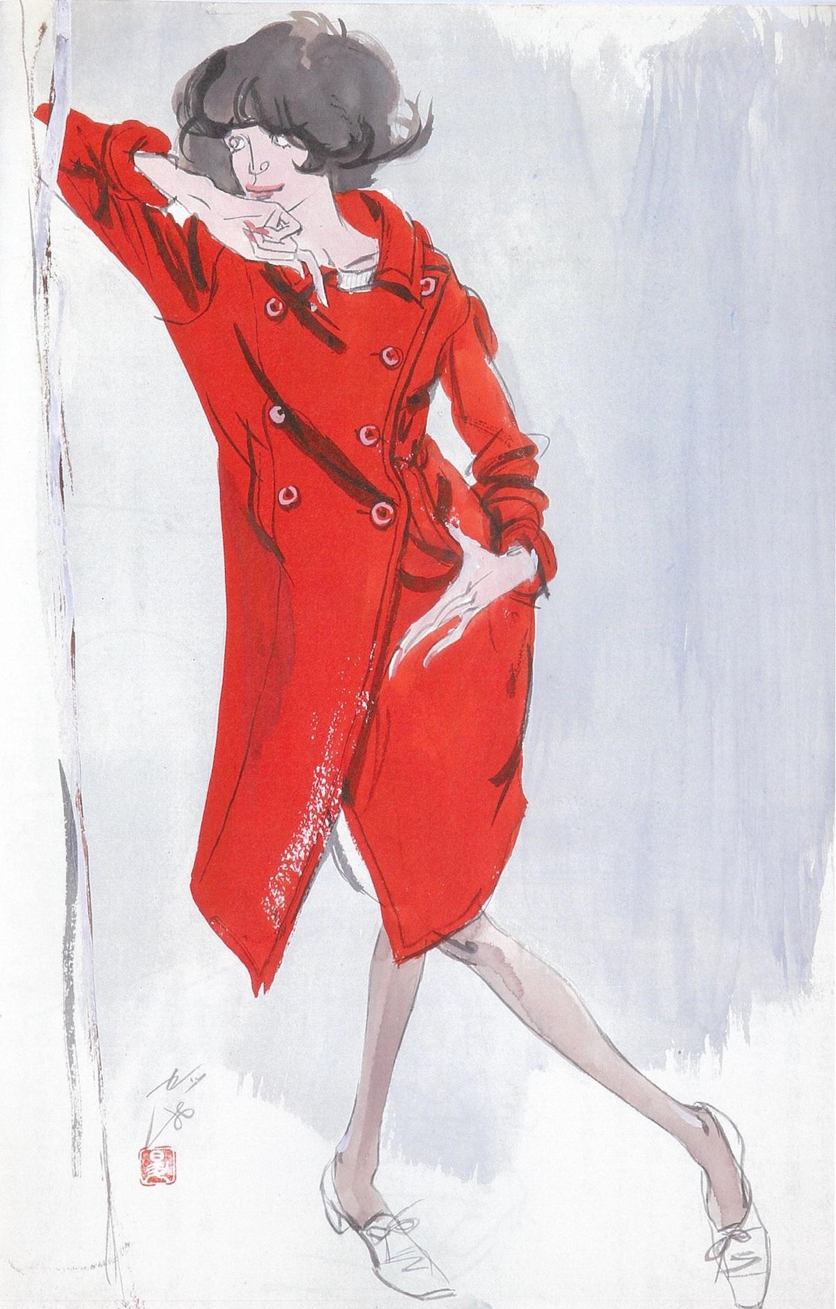 長沢節/女性像(赤いコート)/1950年代/セツ・モードセミナー