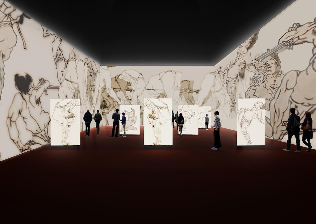 『DIGITAL HOKUSAI』展示空間イメージ ©Atelier Tsuyoshi Tane Architects