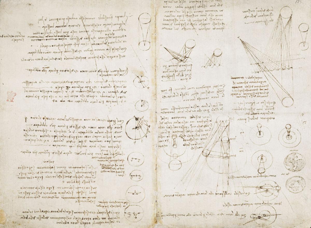 レオナルド・ダ・ヴィンチ「天体にまつわるメモとスケッチ」 1506-1508年頃 大英図書館蔵 ©British Library Board