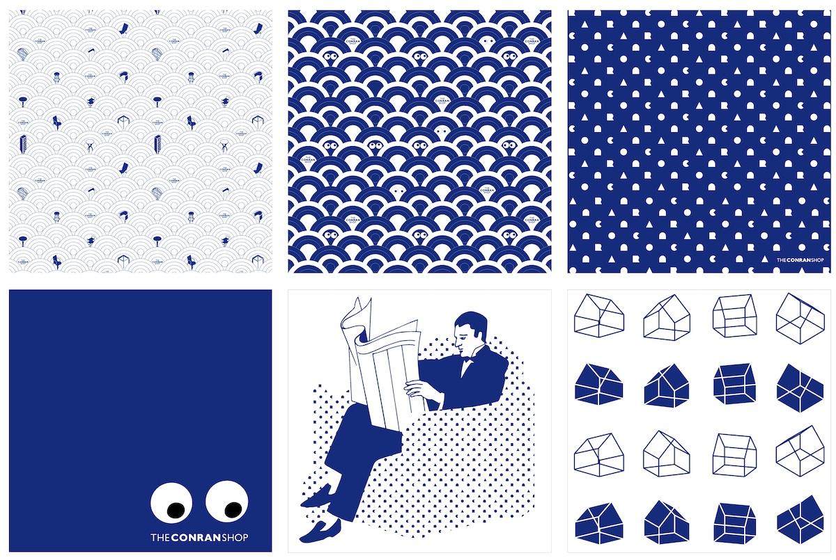 グラフィカルな6種類の柄がプリントされたオリジナルハンカチーフは店頭のみの取り扱い。(50x50cm)全6種 各¥1,980