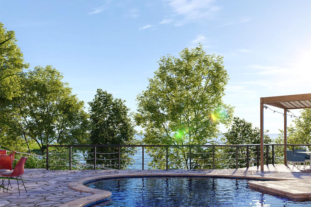 敷地内には宿泊者のみ利用できるハート形プールも。プールサイドにはカフェ&バーもある。