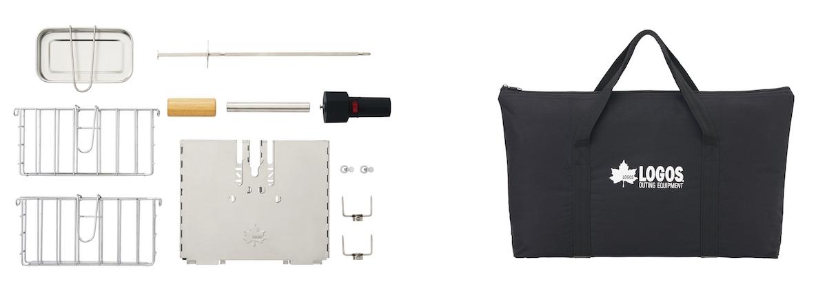 パーツは分解可能でコンパクトに収納できる。持ち運びに便利な収納バッグも付属。