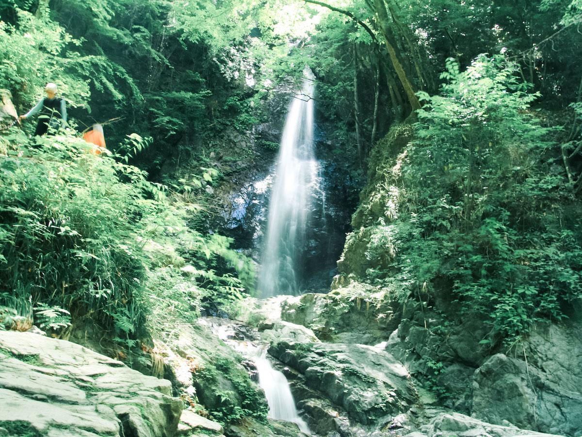 清涼な空気に包まれる払沢の滝。