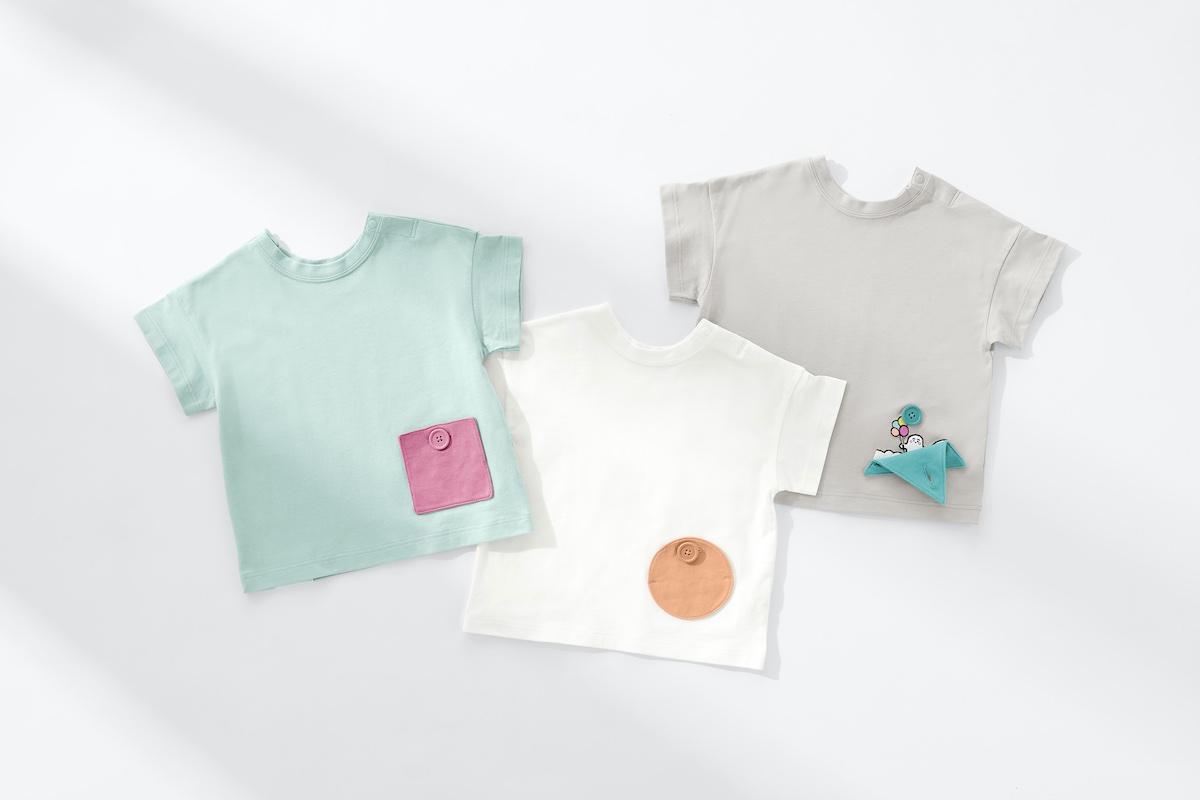 """丸・三角・四角と3つの異なるポケットの形で""""おなじとちがう""""を意識できる。大人向けのユニセックス商品も展開。キッズTシャツ(80、90、100cm) 各¥1,290、大人用ユニセックスTシャツ(XS~XXL) ¥1,690 ※大人用XS、XXLはオンラインストア限定サイズ。"""