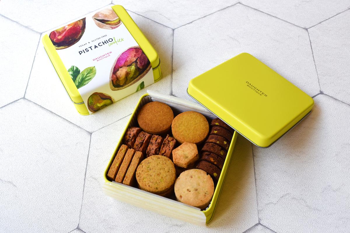 ピスタチオクッキー缶 ¥4,428(※送料別)