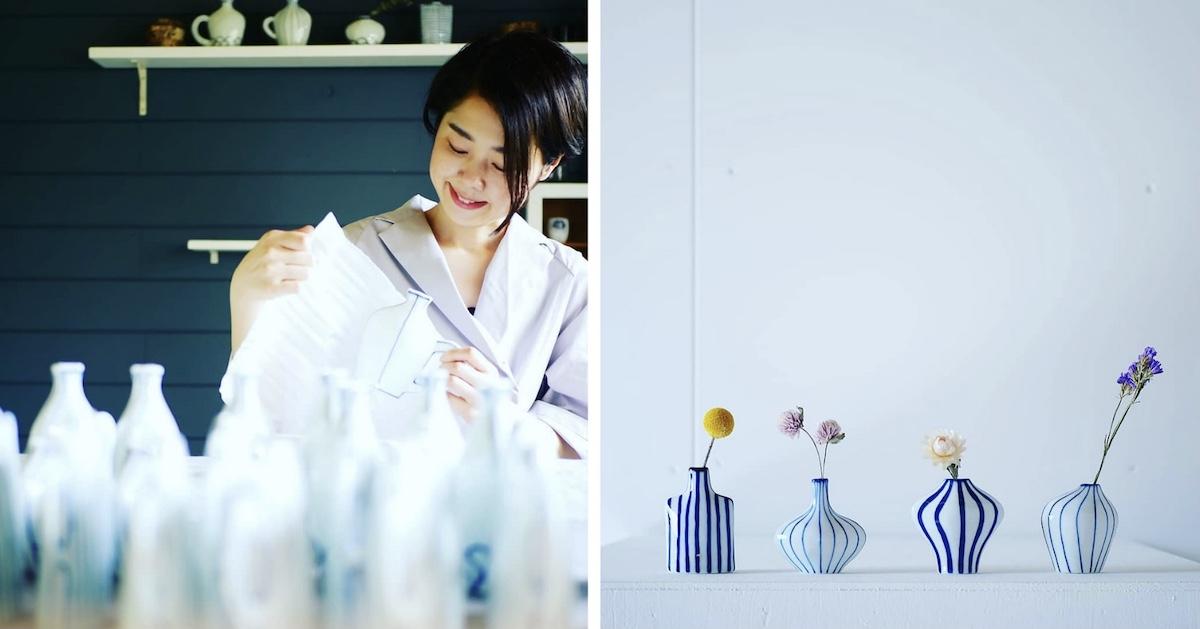 取り扱い作品の一部。1919年創業した瀬戸染付焼の窯元「眞窯」の四代目を担う加藤真雪氏の作品は、眞窯の特徴である白めの素地に凛としたブルーが印象的。