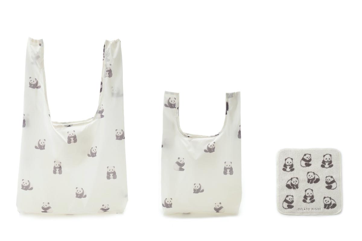 (左から)パンダモチーフエコバッグ ¥1,650円、パンダモチーフスモールエコバッグ ¥1,320円、パンダモチーフハンドタオル ¥1,100