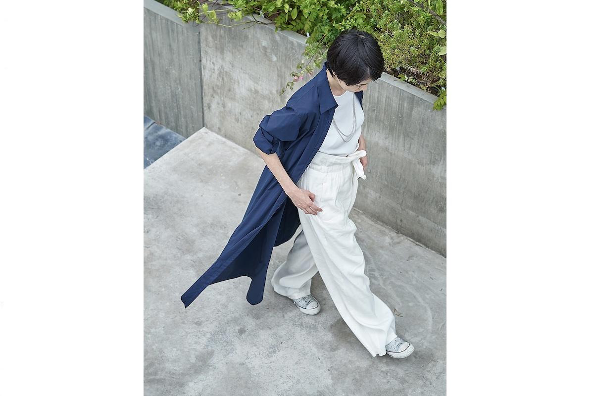 リラックスラップパンツ(ホワイト・ブラック) 各¥14,300(2021年10月1日発売)