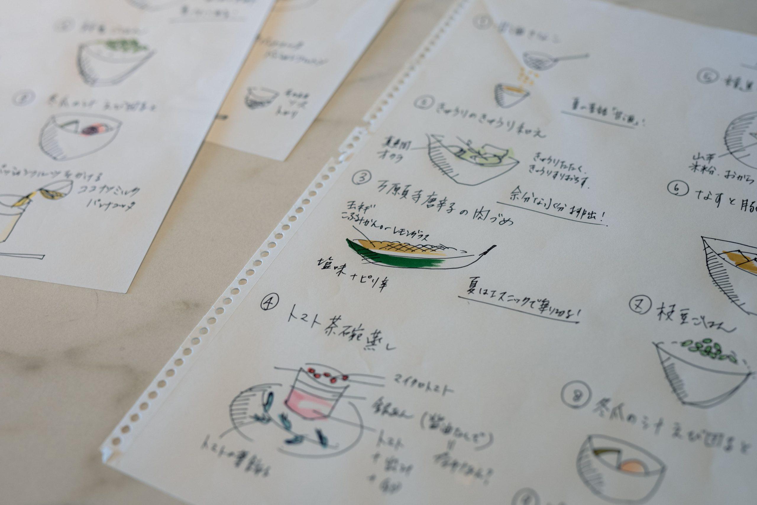 昔からメモ魔だったという谷尻さん。イラストでレシピを描いてイメージを膨らましていく。